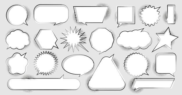 Balões de fala em quadrinhos com diferentes emoções ou estilo de arte pop de texto em quadrinhos.