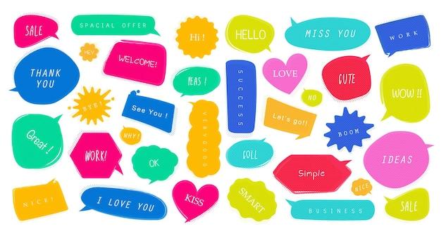 Balões de fala em quadrinhos com diferentes emoções ou estilo pop art de texto em quadrinhos