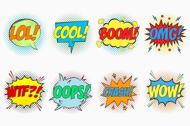 Balões de fala em quadrinhos com emoções lol cool boom omg wtf oops crash wow