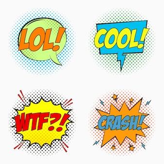Balões de fala em quadrinhos com emoções lol cool wtf e crash desenho animado com efeitos de diálogo