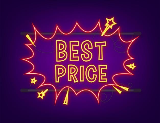 Balões de fala em quadrinhos com o melhor preço de texto. ícone de néon. símbolo, etiqueta de etiqueta, etiqueta de oferta especial, distintivo de publicidade. ilustração em vetor das ações.
