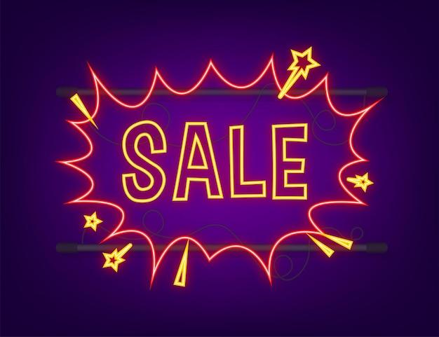 Balões de fala em quadrinhos com venda de texto. ícone de néon. símbolo, etiqueta de etiqueta, etiqueta de oferta especial, distintivo de publicidade. ilustração em vetor das ações.