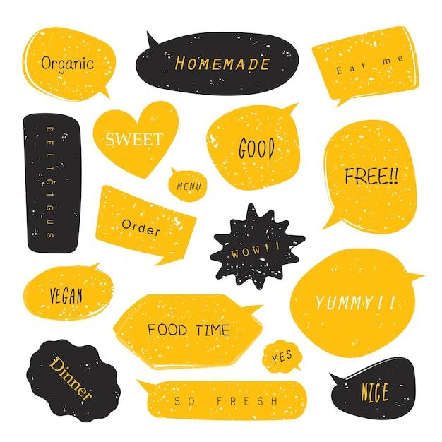 Balões de fala em quadrinhos de comida com diferentes emoções ou estilo pop art de texto em quadrinhos