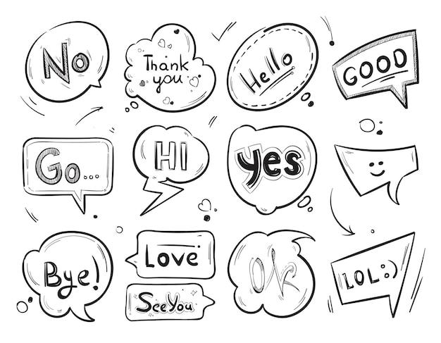 Balões de fala em quadrinhos desenhados à mão com coleção de palavras de mensagem popular.