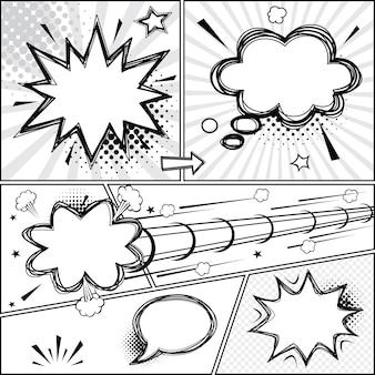 Balões de fala em quadrinhos e quadrinhos ilustração vetorial de balões de fala em quadrinhos retrô