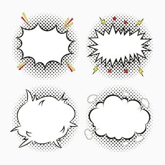 Balões de fala em quadrinhos em pontos de fundo de meio-tom com estrelas e relâmpagos