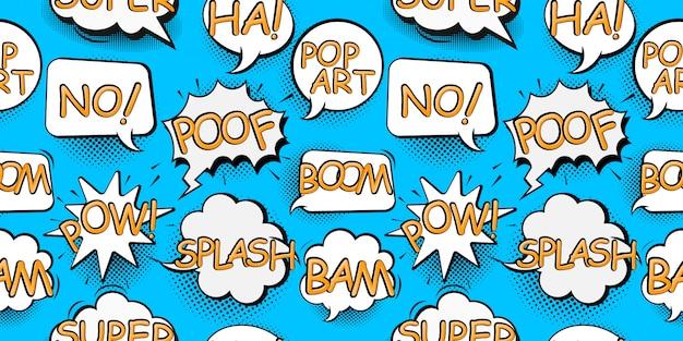 Balões de fala em quadrinhos no estilo pop art com ilustração de padrão sem emenda de desenho de bomba e texto de explosão