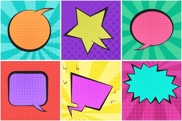 Balões de fala em quadrinhos retrô e coloridos
