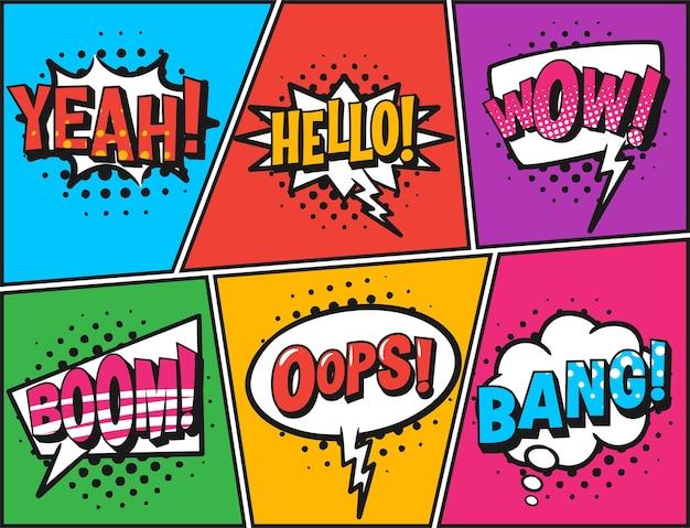 Balões de fala em quadrinhos retrô em cores