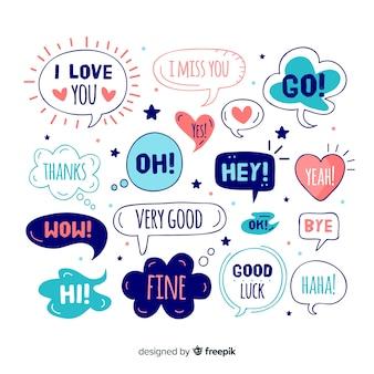 Balões de fala fofos com diferentes expressões