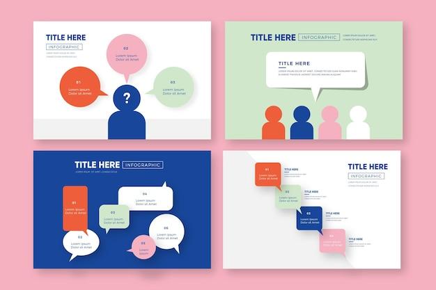Balões de fala infográficos em design plano