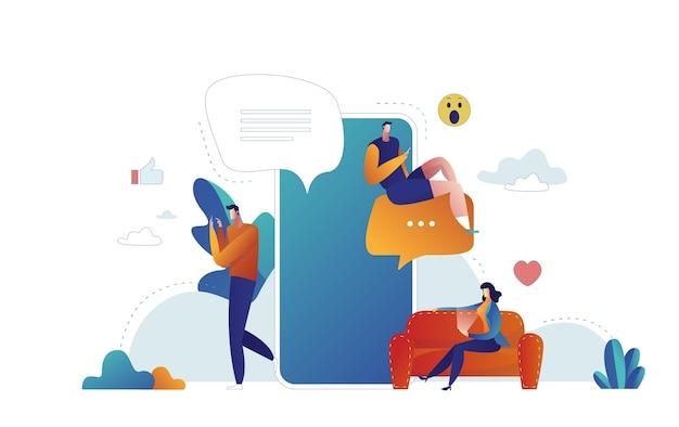 Balões de fala para comentário e resposta ilustração vetorial plana de conceito de jovens usando smartphone móvel para mensagens de texto em redes sociais