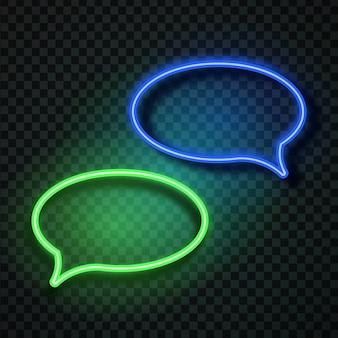 Balões de fala retrô de néon realistas no fundo transparente para decoração e cobertura. conceito de mensagem e rede.