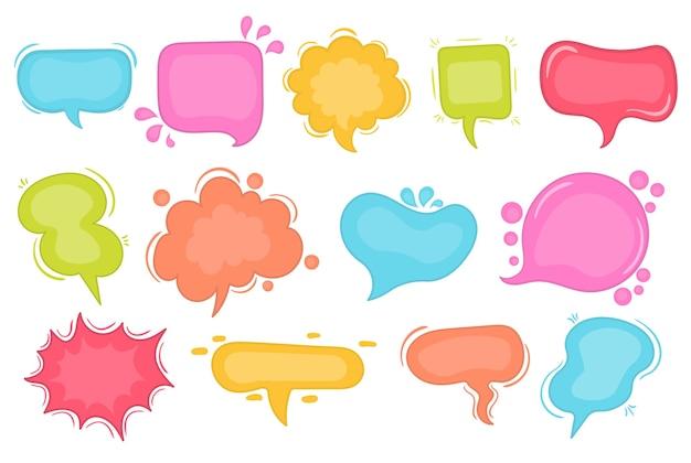 Balões de fala sketch conjunto de bolhas de discurso em quadrinhos. ilustração em vetor de bolhas de palavra de bate-papo, nuvem desenhada de mão, banner em estilo cômico, isolado no fundo. elemento gráfico de conceito abstrato de texto de bate-papo
