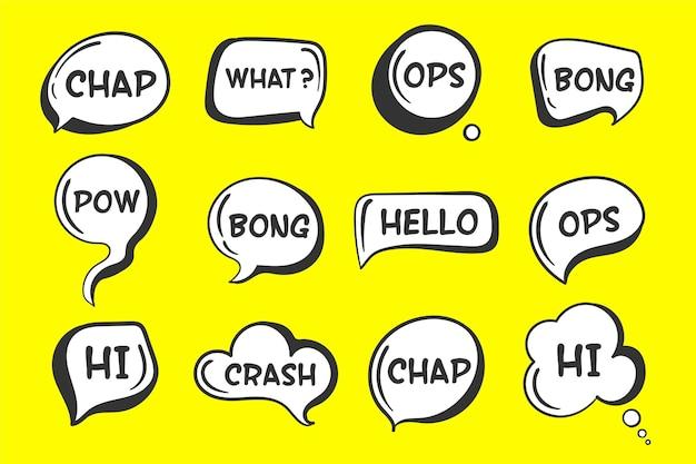 Balões de fala sketch conjunto de bolhas de discurso em quadrinhos.