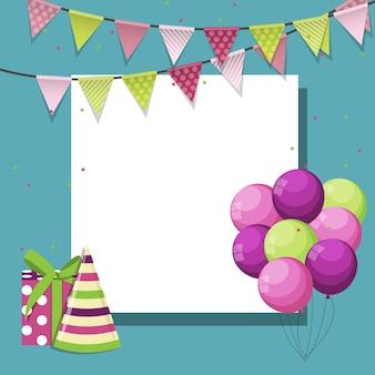 Balões de feliz aniversário coloridos com banner de fundo vector il