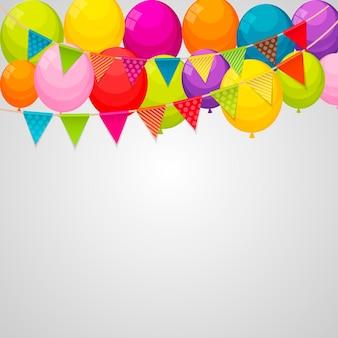 Balões de feliz aniversário com cores brilhantes e fundo de banner com ilustração vetorial de grinalda de bandeira de festa eps10