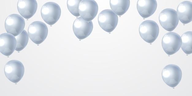 Balões de feliz aniversário fundo branco celebração com confete.
