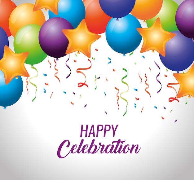 Balões de festa com estrelas e decoração de confete