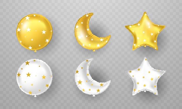 Balões de festa de celebração. conjunto de balões dourado e prateado