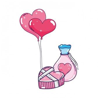 Balões de festa em forma de coração com mason jar
