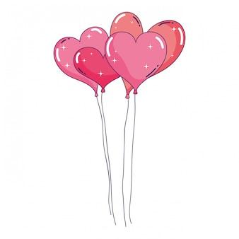 Balões de festa em forma de coração