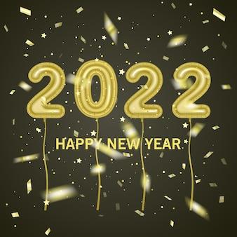 Balões de folha coloridos feitos de números 2021 em fundo escuro festa de celebração de feliz ano novo