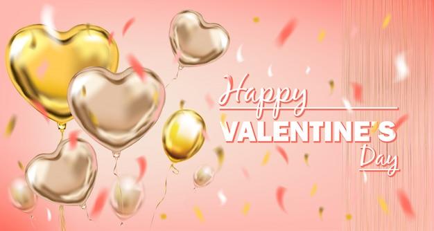 Balões de forma de coração de folha-de-rosa e ouro