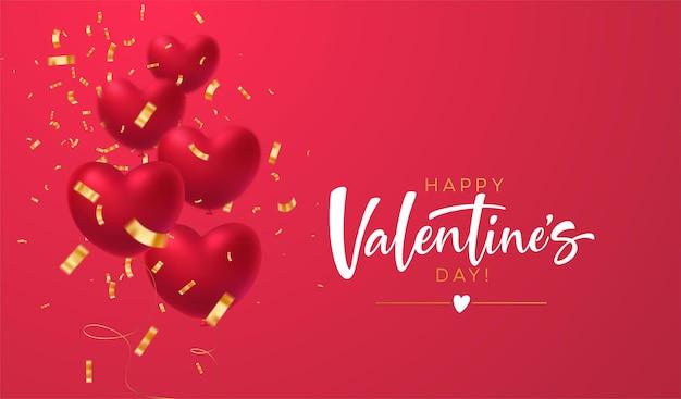 Balões de formato de coração vermelho brilhante com inscrição de confete brilhante dourado feliz dia dos namorados