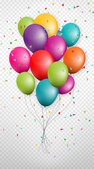 Balões de grupo colorido de festa de aniversário e celebrações