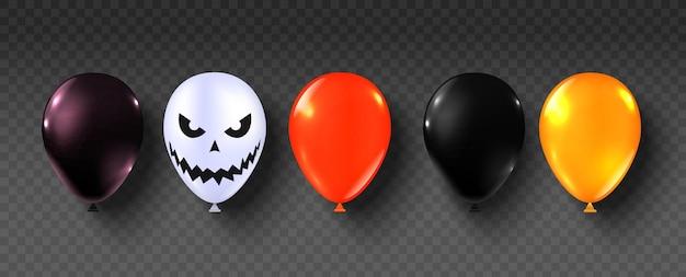 Balões de halloween. conjunto de balão de decoração de festa feliz halloween. balões assustadores de laranja, preto e branco. rosto assustador no balão para banners ou cartaz de venda