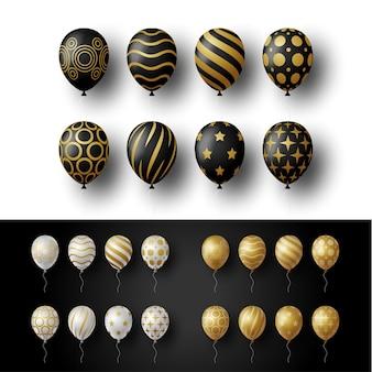 Balões de hélio 3d festivos dourados, dourados, prateados e pretos realistas.