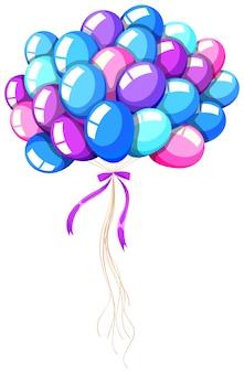 Balões de hélio amarrados com fita