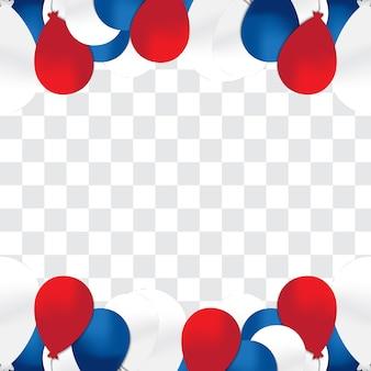 Balões de hélio azul, vermelho e branco em fundo transparente.
