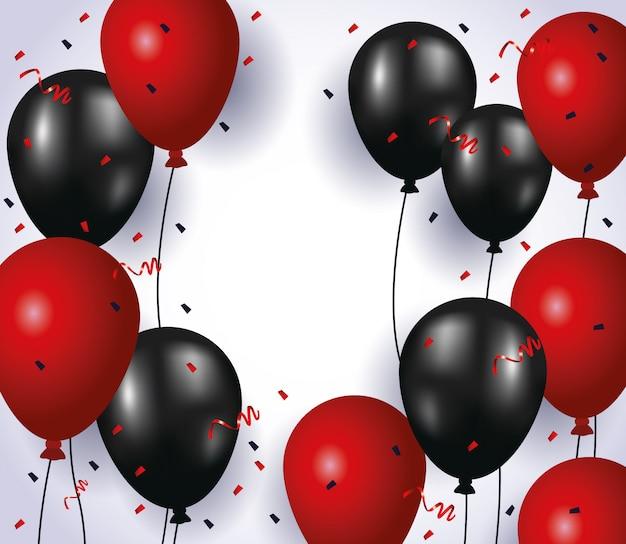 Balões de hélio flutuando cores vermelho e preto com confete