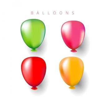 Balões de hélio multicoloridos.