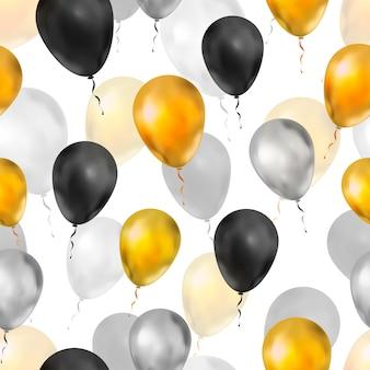 Balões de luxo nas cores ouro, prata e preto