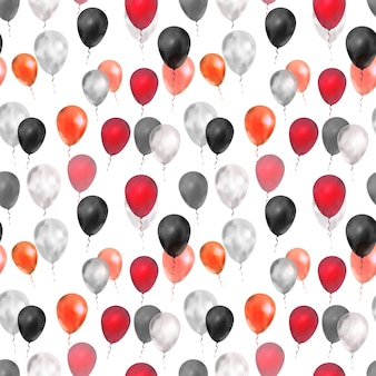 Balões de luxo nas cores vermelhos, prateados e pretos