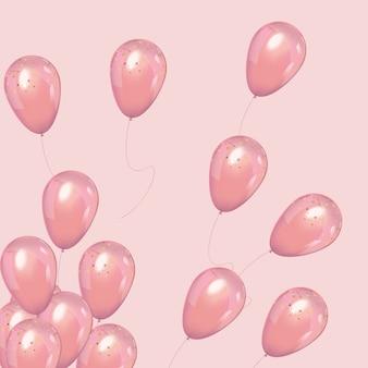 Balões de luxo rosa com confete