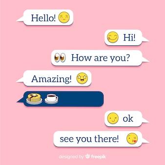 Balões de mensagens design plano