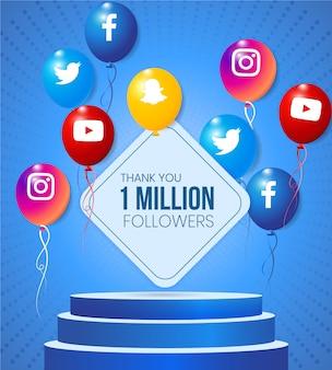 Balões de mídia social com ícone e moldura de texto com palco de desempenho realista para celebração de conquista de marco
