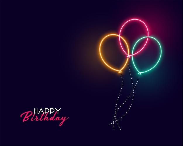 Balões de néon fofos de feliz aniversário Vetor grátis