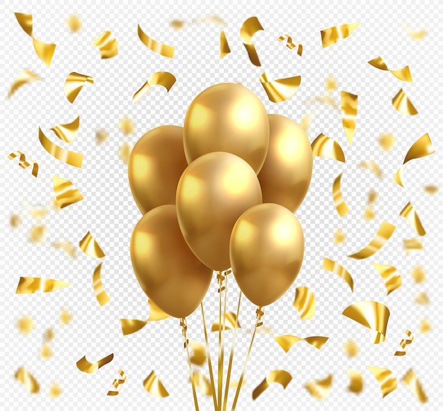 Balões de ouro amarelo e confetes estrela dourada. balão brilhante ouro realista realista de vetor para cartão celebração de férias
