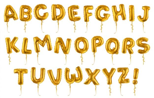 Balões de ouro com forma de letra
