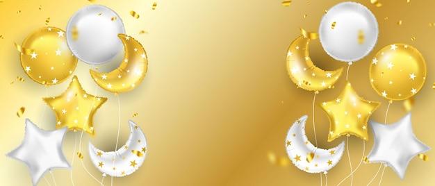 Balões de ouro e confetes de folha de ouro