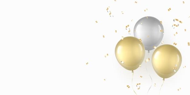Balões de ouro e prata com confete.