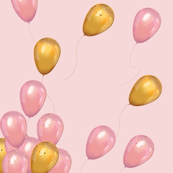 Balões de ouro e rosa de luxo com confetes.