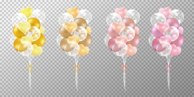 Balões de ouro e rosa ouro sobre fundo transparente.