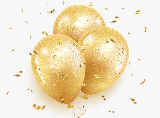 Balões de ouro festivos com glitter e lantejoulas, fita e confetes.