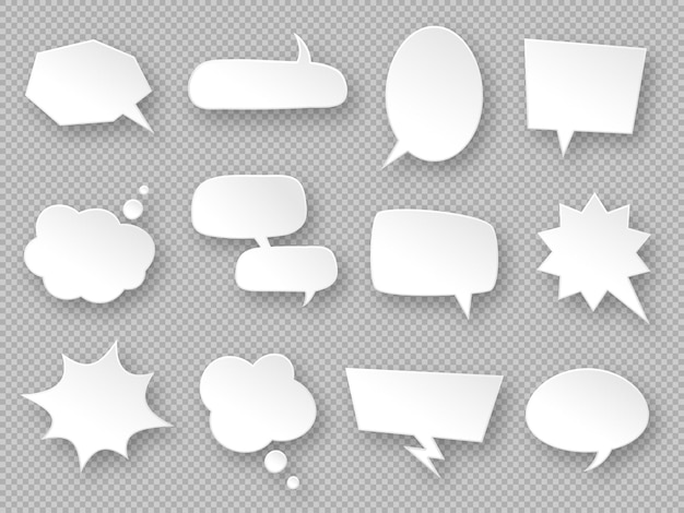 Balões de pensamento. balões de fala de papel, nuvens de mensagens de comunicação brancas, etiqueta de sonho, rótulos de discussão, vetor de bate-papos de diálogo em branco definido em formas diferentes oval, retangular, nuvem